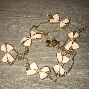 J. Crew pink ribbon necklace